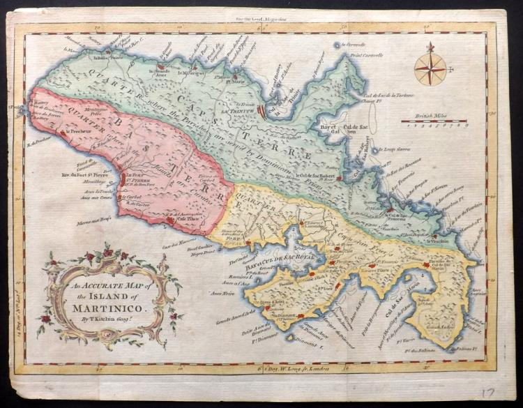 Kitchen, Thomas 1758 Hand Coloured Map of Martinique, Caribbean
