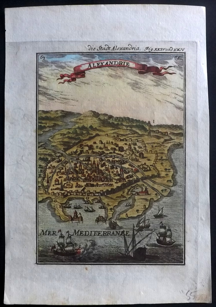 Mallet, Alain Manesson 1719 Hand Coloured Print of Alexandria, Egypt