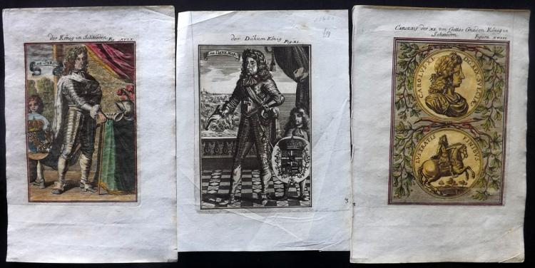 Mallet, Alain Manesson 1719 Group of 3 Prints of Kings of Sweden and Denmark