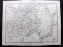 Johnston, Alexander Keith 1883 Map of China and Japan