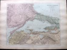 Stanford, Edward - Sea of Marmara, Turkey 1894 Large Map from the London Atlas