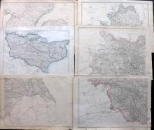 Weekly Dispatch - UK C1860 Lot of 6 Maps by Edward Weller et al.