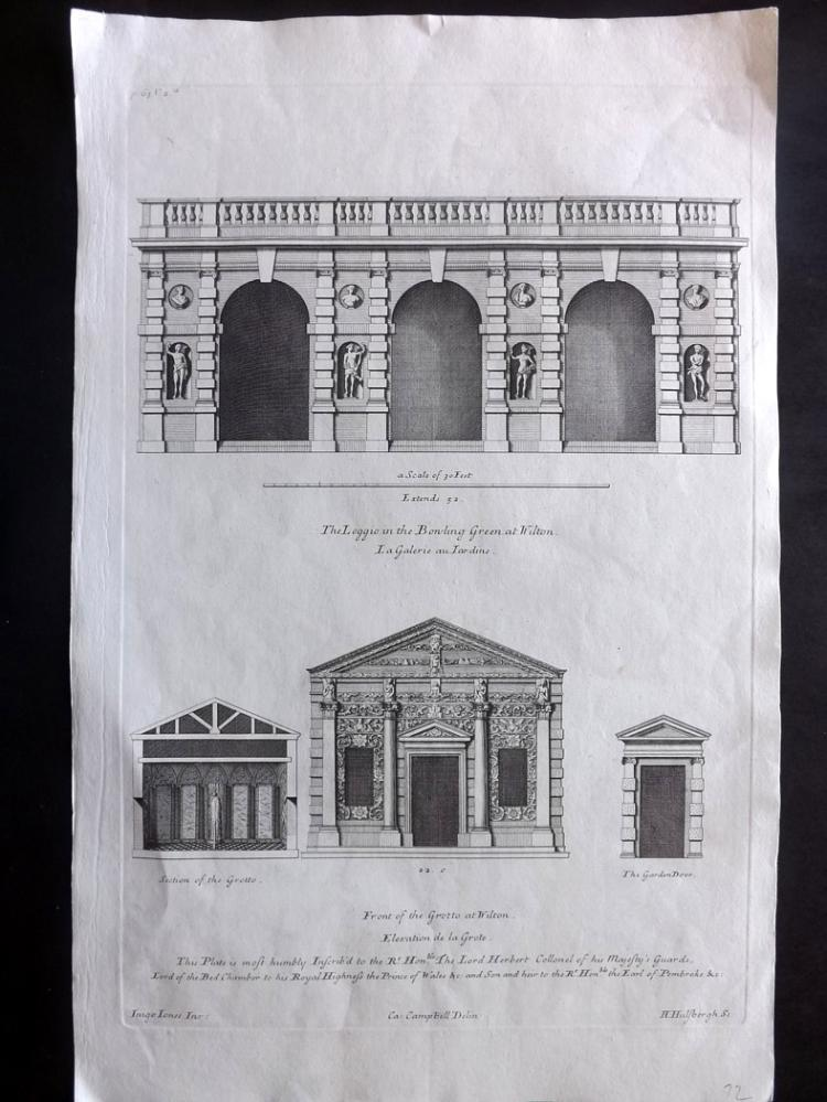 Campbell, Colen C1720 Architectural Print from the Vitruvius Britannicus 2-65 Wilton House