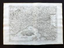 Le Rouge, George Louis 1748 Map of North Italy. Lombardy, Venice, Tuscany