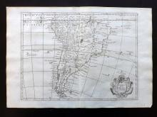 Le Rouge, George Louis 1748 Map of South America Continent