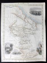 Tallis, John (Pub) 1852 Hand Coloured Map of British Guayana