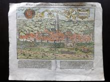 Munster, Sebastian C1575 Hand Coloured Double Page Woodcut of Nordlingen, Germany