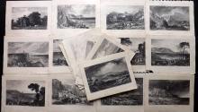 UK - Devon, Cornwall, Dorset, Hampshire, Kent 1826 Lot of 20 Steel Engraved Views after Turner et al.