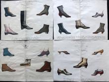 Fashion - Shoe Designs C1890 Group of 4 Hand Coloured, Parisienne