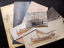 Hereford, Edward W. C1905 Group of 7 Maritime Watercolours, Sketches