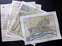 de Fer, Nicolas 1724 Group of 4 Hand Coloured Maps/Plans of Paris. Gardens etc