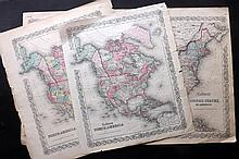 Colton, Joseph Hutchins C1860's Group of 3 Maps of the US and North America