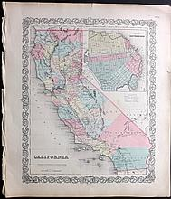 Colton, Joseph Hutchins 1856 Map California with San Francisco Inset