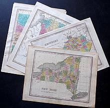 Finley, Anthony C1830 Group of 4 Hand Colored US Maps. New York, Kentucky, New Hampshire, Connecticut