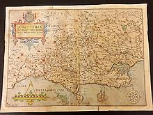 Kip, William C1607 Hand Colored Map of Dorset