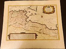 Jansson, Jan C1650 Hand Coloured Map of North Africa & Sicliy