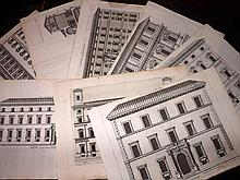 Falda, Giovanni Battista & Ferrerio, Giovanni Battista C1680 Lot of 10 Folio Architectural Prints