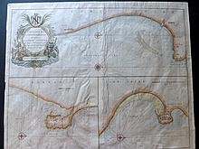Collins, Greenville C1693 Hand Coloured Coastal Chart of Hartlepool, Scarborough