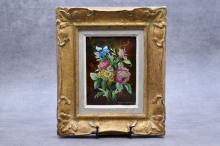 Camille FAURÉ (1874-1956), Tableau émaillé représentant un bouquet de fleurs. Signé en bas à droite