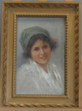 Louise Amélie LANDRÉ (Née en 1852). Jeune espagnole, huile sur toile. Dimensions: 40x25cm. EXPERTS: