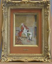 Bernard Louis BORIONE (1865-?), Portrait de gentilhomme, huile sur panneau. Signé en bas à gauche.