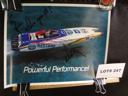 Two speed boat posters, signed, one is 8