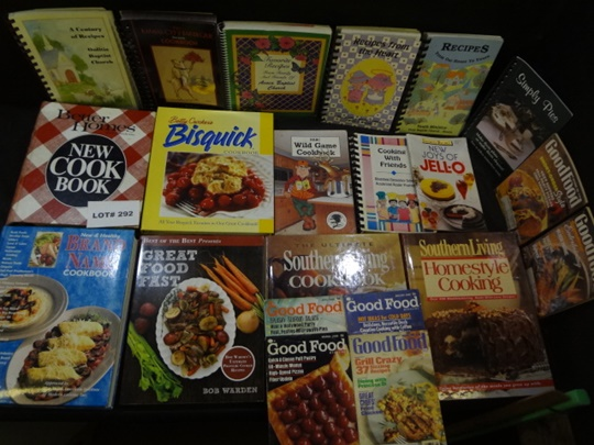 Ten cookbooks and some brochures and magazines