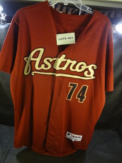 Signed Houston Astros jersey, #74, Jackie Moore, similar on eBay, unsigned, for $189.95