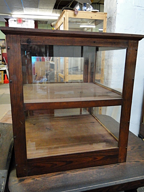 Antique Countertop Glass Wood Display Case