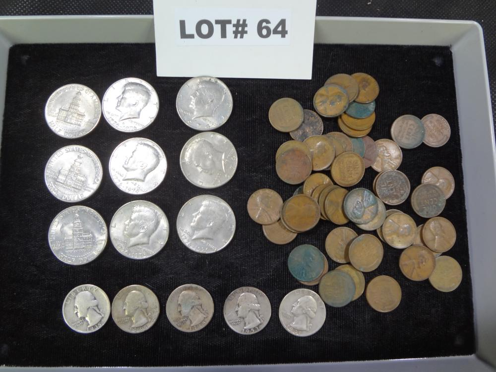 Mixed lot of coins, five Washington silver quarters, 1935, 1