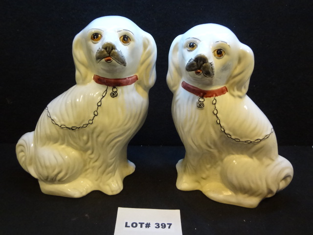 Vintage signed and numbered, hand painted, made in Portugal 'Foo' dogs by Jay Willfred, singles are $70 on eBay, one has front paws professionally repaired (shown), 12