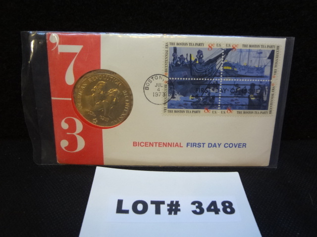 Bicentennial First Day Cover of Boston Tea Party with commemorative medal