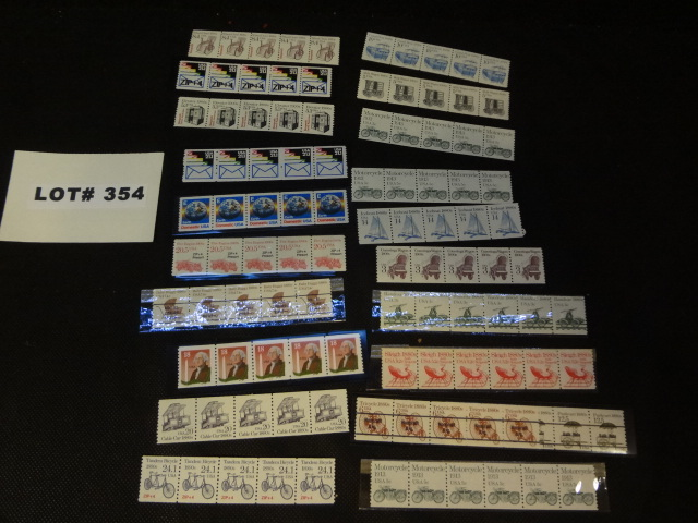 Twenty coil stamp strips, various