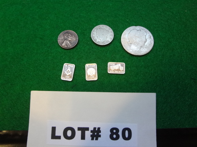 Mixed lot of  a Barber silver half dollar, unknown date, a  1901 Liberty nickel, a 1941 Lincoln penny and three 1 gram .999% pure silver ingots