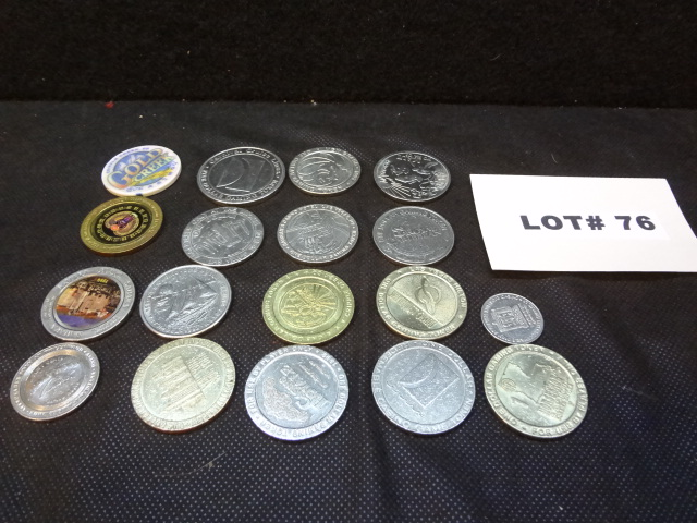 Eighteen casino chips/gaming tokens, various casinos and denominations