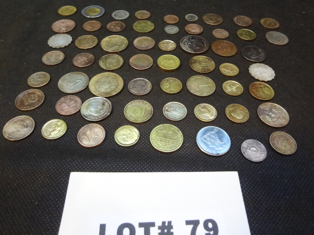 Fifty eight foreign coins, various dates, denominations and countries