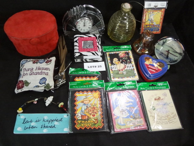Huge mixed lot of misc items, 6 packs note cards, diary, Mikasa crystal clock, leather box, more