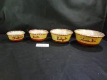 Mid century string art snack bowl set