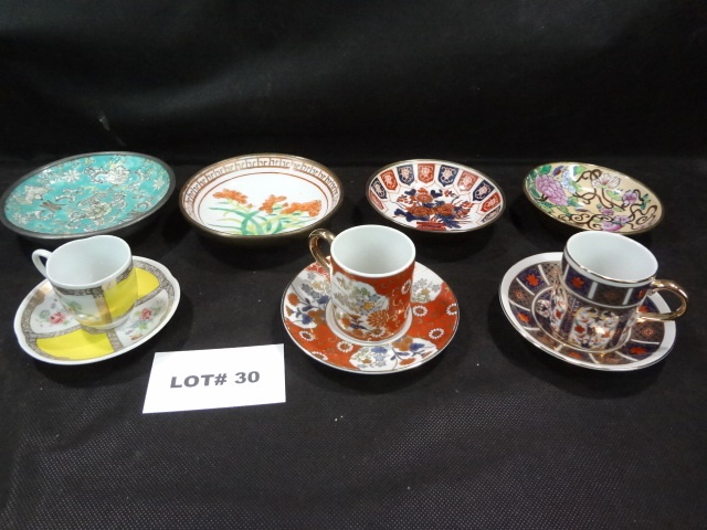 Two Japanese and one Avon teacup and saucer sets and four metal bottomed bowls