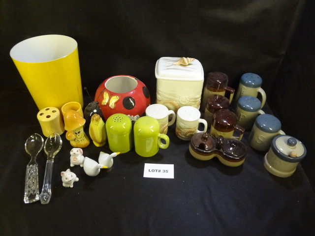 Huge mixed lot of misc items, shakers, cookie jars, bathroom set, etc.