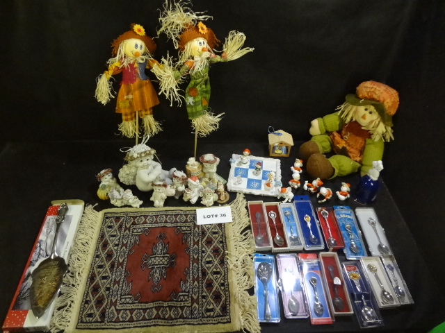 Huge mixed lot of Fall and Christmas items, Dreamsicles, small rug and 14 souvenier spoons