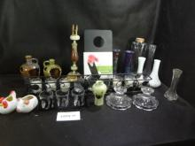 Huge mixed lot of candle holders, vases, misc