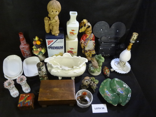 Huge mixed lot of items, figurines, milk glass lamp, etc, too much to list