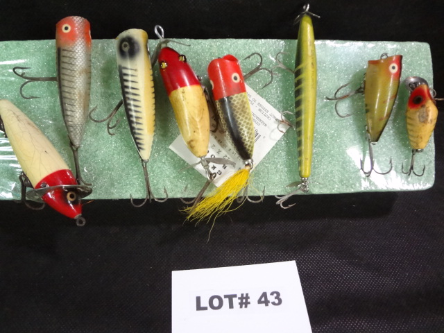 Eight old fishing lures