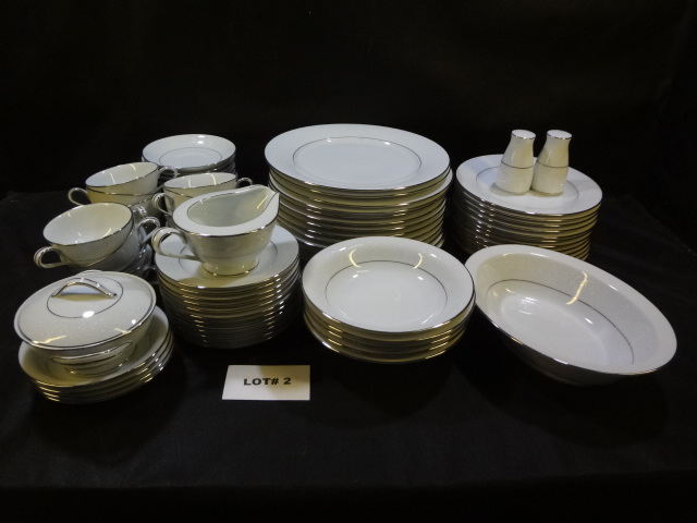 Beautiful almost complete 12 place setting of Naritake china, Buckingham pattern, 12 cups, 12 saucers, 13 dinner plates, 12 -8 inch and 12 - 6 inch plates, 5 cereal bowls and 4 fruit dessert bowl bowls, a cream and sugar, and a 10 inch serving bowl