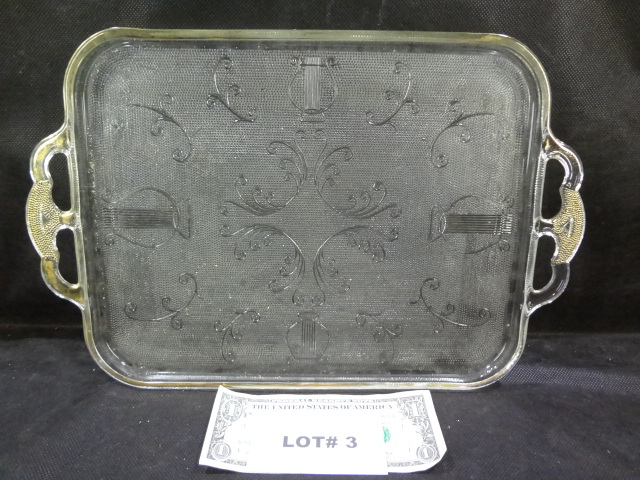 1950's Harp pattern Jeanette gold trimmed glass serving tray