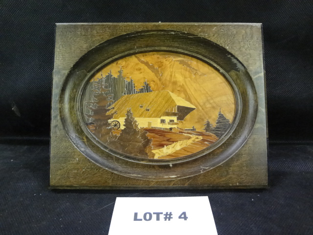 Karl Heinisch original hand made wood inlay art, mountain chalet scene, 6 3/4