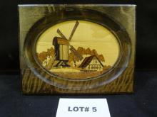 Karl Heinisch original hand made wood inlay art, windmill scene, 6 3/4