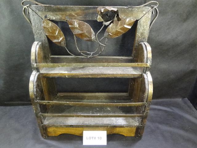 Primitive folk art what not shelf, metal trimmed leaves and rose, 18