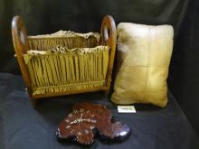 Three items, a Country Home style magazine rack, a leather pillow 11